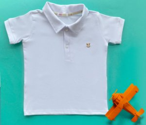 Camisa Gola Polo Infantil Cotton Cor Branco