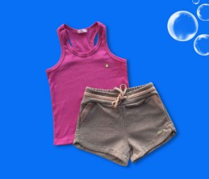 Combo Regata Cotton Rosa + Short Malha