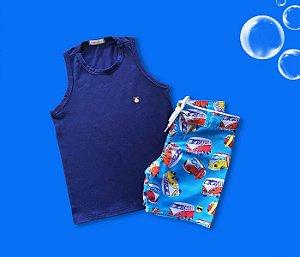Combo Bermuda Tactel Kombi + Regata Cotton Azul