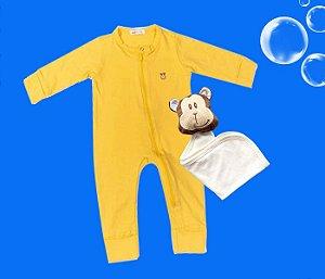 Combo Macacão Amarelo + Naninha Bebê