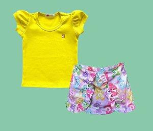 Combo Shortinho Ursinhos Carinhosos + Blusa Baby Look Amarela