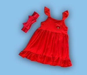 Combo Vestido Vermelho + Tiara Duplo Laço Vermelha