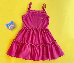 Vestido Cotton Com Detalhe de Renda Cor Rosa
