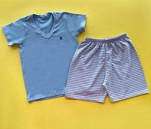 Pijama Infantil Short e Blusa Cor Azul