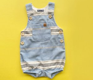 Francês Bebê Linho Listras Azul