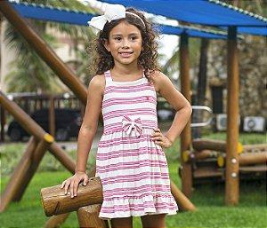 Malha Vestido infantil Canelado Listras Rosa