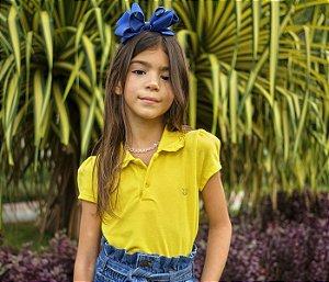 Blusa Infantil cheia de estilo  Gola Polo cor Amarela