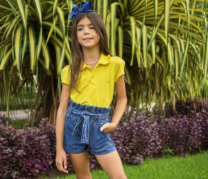 Short Infantil Jeans Clochard azul
