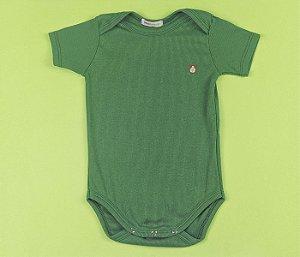 Body Com Manga Bebê Malha Canelada Cor Verde Musgo