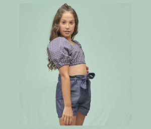 Short Clochard Casual  Teekis Cor Azul