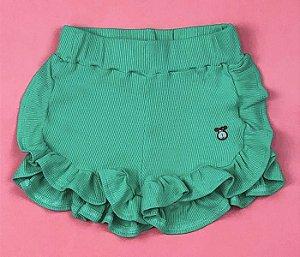 Short babados Malha Canelada Verde