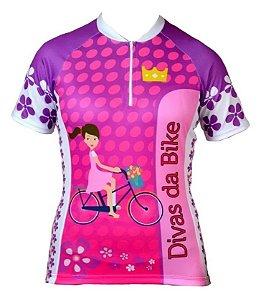 Camisa De Ciclismo Feminina Divas Da Bike Rosa