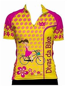 Camisa De Ciclismo Feminina Divas Da Bike Amarela