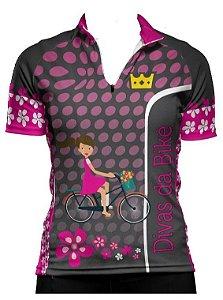Camisa De Ciclismo Feminina Divas Da Bike Cinza
