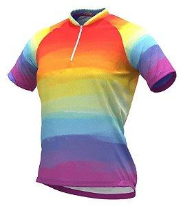 Camisa De Ciclismo Feminina Rainbow Tie Dye