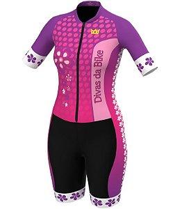 Macaquinho De Ciclismo Feminino Divas Da Bike Rosa