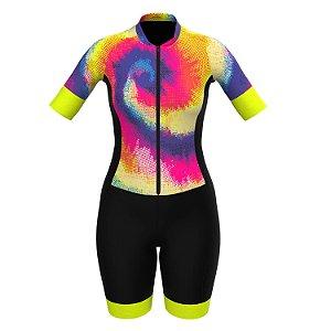 Macaquinho Feminino De Ciclismo Psico Neon