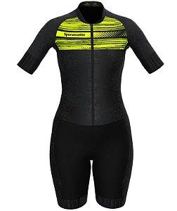Macaquinho de ciclismo feminino amarelo neon