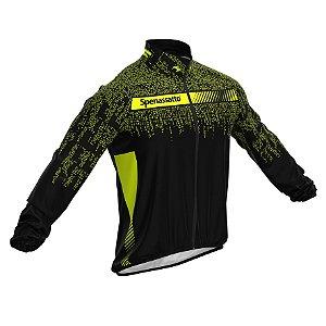 Jaqueta Corta Vento Para Ciclismo Masculina Digital Neon Preta