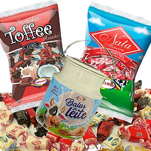 Combo Balas Nata e Toffee + Lata Decorativa Leiteira -  Santa Rita