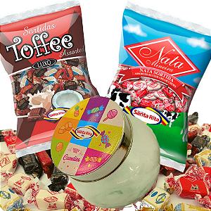 Combo Balas Nata e Toffee + Lata Decorativa Retrô -  Santa Rita