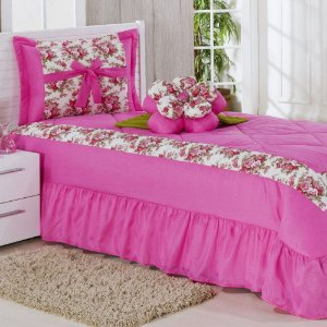 Kit Cobre Leito Solteiro Amazon 03 Peças - Pink