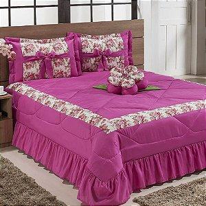 Kit Cobre Leito Amazon Casal Padrão 06 Peças - Pink
