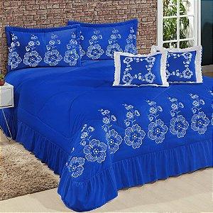 Kit Cobre Leito Casal King Amore 07 Peças Bordadas - Azul