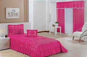 Kit Cobre Leito Solteiro Desejos 04 Peças Bordado + Cortina 2,00x1,70m - Pink
