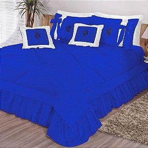 Kit Cobre Leito Casal King Esplendore Bordado 7 Peças - Azul