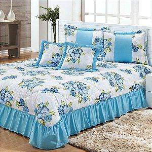 Kit Cobre Leito Casal Queen Harmony 7 Peças Estampado - Azul