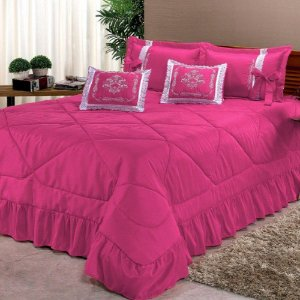 Kit Cobre Leito Casal King Portinari 7 Peças Bordado - Pink