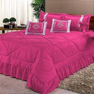 Kit Cobre Leito Casal Super King Portinari 7 Peças Bordada - Pink