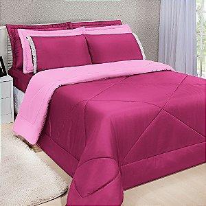 Kit Edredom Dupla Face Ternura Casal Queen 6 Peças - Pink e Rosa