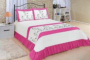 Kit Cobre leito Casal Super King Charme 03 Peças Colcha pink