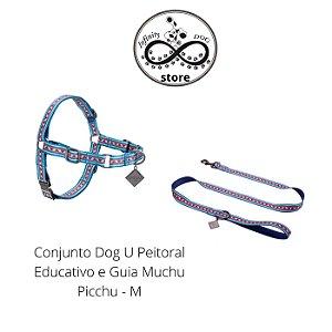 Conjunto Dog U -  Peitoral Educativo e Guia Machu Picchu - M