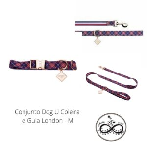 Conjunto Dog U Coleira e Guia London - M