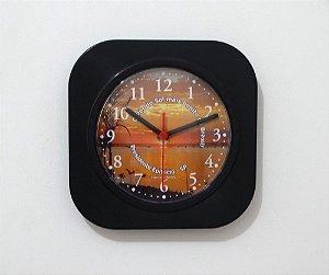 Relógio de Parede Quadrado - Pôr do Sol