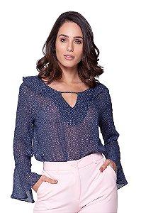Molde blusa com babado no decote e manga evasê graduada nos tamanhos P ao XGG