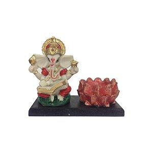 Porta Incenso Ganesha com Flor de Lótus Colorido