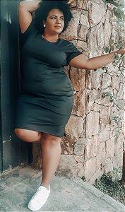 Vestido tubinho canelado plus size