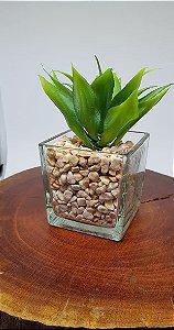 Vaso de Vidro com Suculenta Artificial Mariana