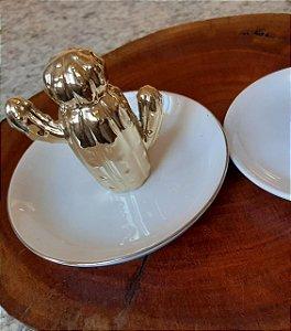 Porta-joias de Porcelana Cacto Saara - Dourado