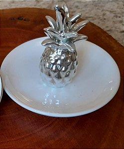 Porta-joias de Porcelana Abacaxi Metálico