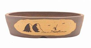 Vaso Oval Terracota Jorge Ribas com Acabamento 24 x 18 x 6 cm
