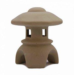 Lanterna Japonesa para Jardim e Bonsai com Telhadinho Octagonal - Toro Cerâmica 7,5 cm X 8 cm