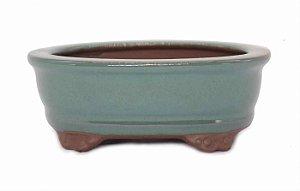Vaso Oval Para Bonsai Mame Esmaltado Literato 13,5 X 10 X 5 cm
