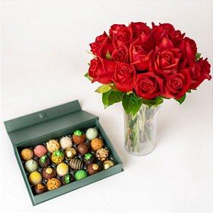 Bouquet com 24 Rosas Vermelhas e Doces finos sortidos