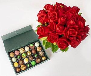 Bouquet com 36 Rosas Vermelhas e Doces finos sortidos