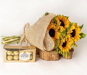 Bouquet de Girassol com Chocolate Ferrero Rocher